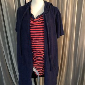 Navy/coral one piece bathing suit w/ terry coverup
